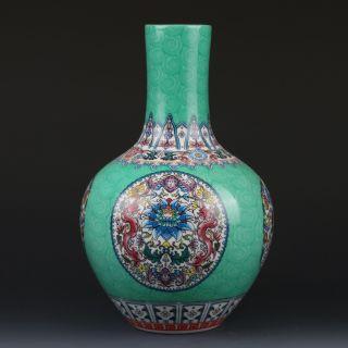 Chinaese Enamel Color Porcelain Hand - Painted Vase W Qianlong Mark G221 photo