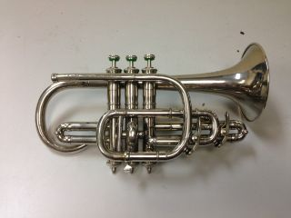 Antique Grinnell Brothers Detroit Silver Cornet photo