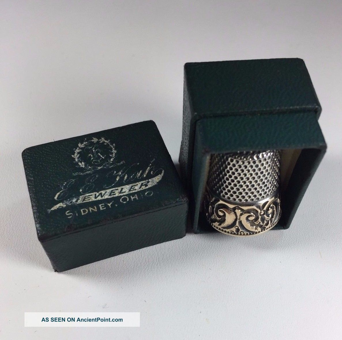 Antique 14k Embossed Band Sterling Silver Thimble Ketcham Mcdougall In Orig Box Thimbles photo