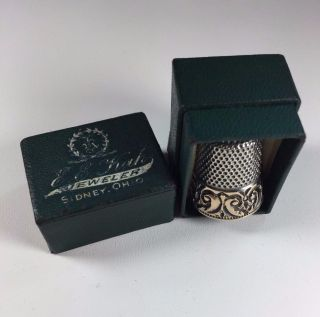 Antique 14k Embossed Band Sterling Silver Thimble Ketcham Mcdougall In Orig Box photo