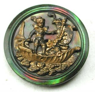 Antique Brass Over Iridescent Shell Button Boy In Detailed Shell Boat - 5/8