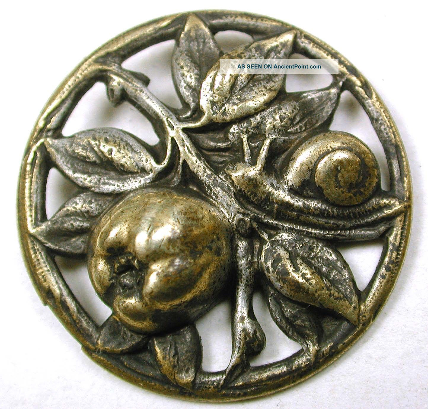 Antique Pierced Brass Button Snail & Fig Fruit Design - 1 & 1/16