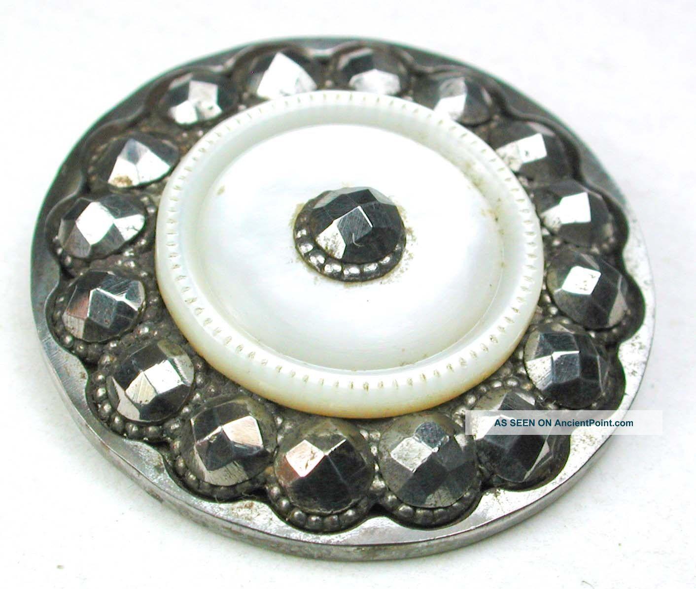 Lg Sz Antique Steel Cup Button Shell Center W/ Cut Steel Border - 1 & 1/4 Buttons photo