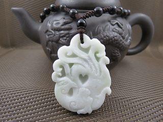 Chinese Lantian Jade Phoenix Pendants Beads Gift photo