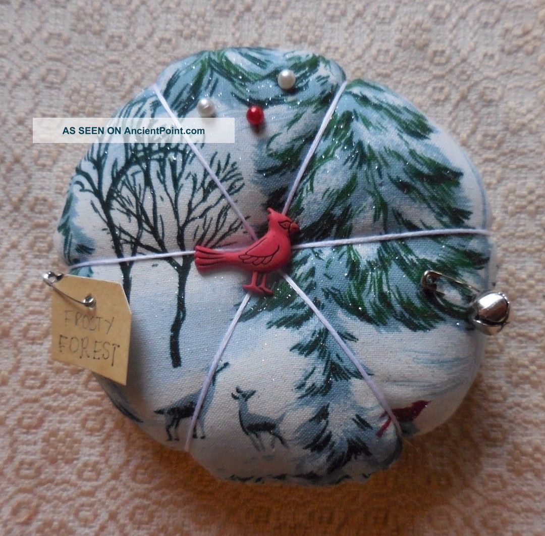 Primitive Winter Pin Cushion Forest Deer Pin Keep Ornament Cardinal Home Decor Primitives photo