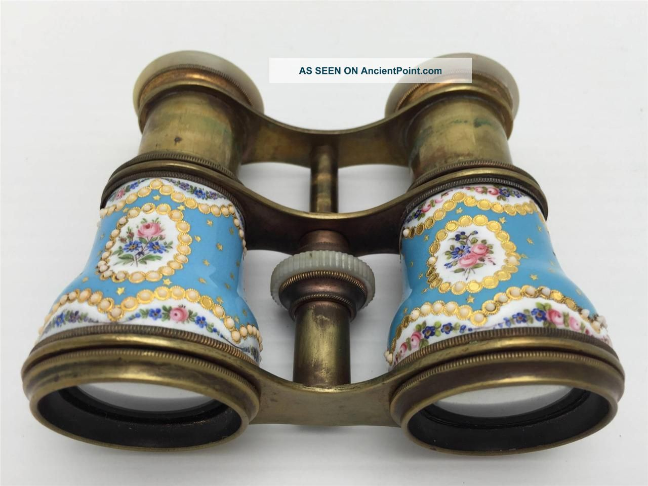 Antique Hand Painted French Enamel Mother Of Pearl Opera Glasses Ca.  19th C Victorian photo