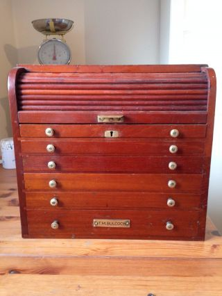 Antique Claudius Ash Tambour/drawer Dentist Chest,  Key Coin Collectors Cabinet photo