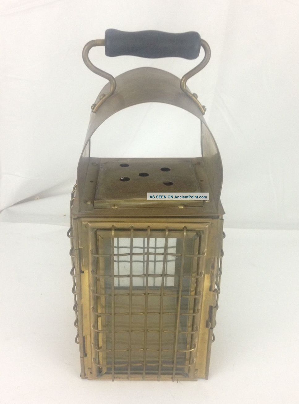 Vintage Brass Nautical Ship Lamp Lantern Grids Glass Panels Wooden Handle Lamps & Lighting photo