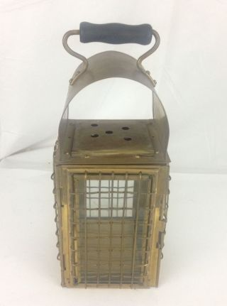 Vintage Brass Nautical Ship Lamp Lantern Grids Glass Panels Wooden Handle photo