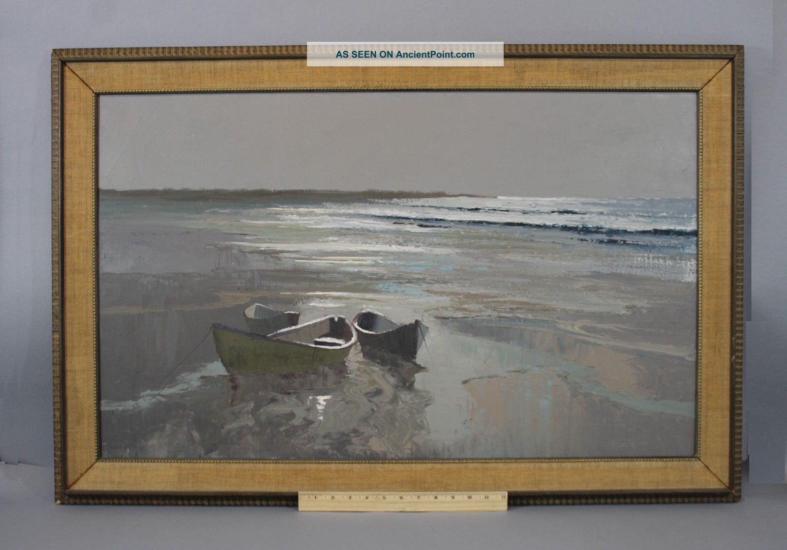 Large Orig George Carpenter Maine Seascape Stranded Rowboat Oil Painting Nr Other Maritime Antiques photo