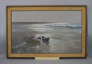 Large Orig George Carpenter Maine Seascape Stranded Rowboat Oil Painting Nr photo