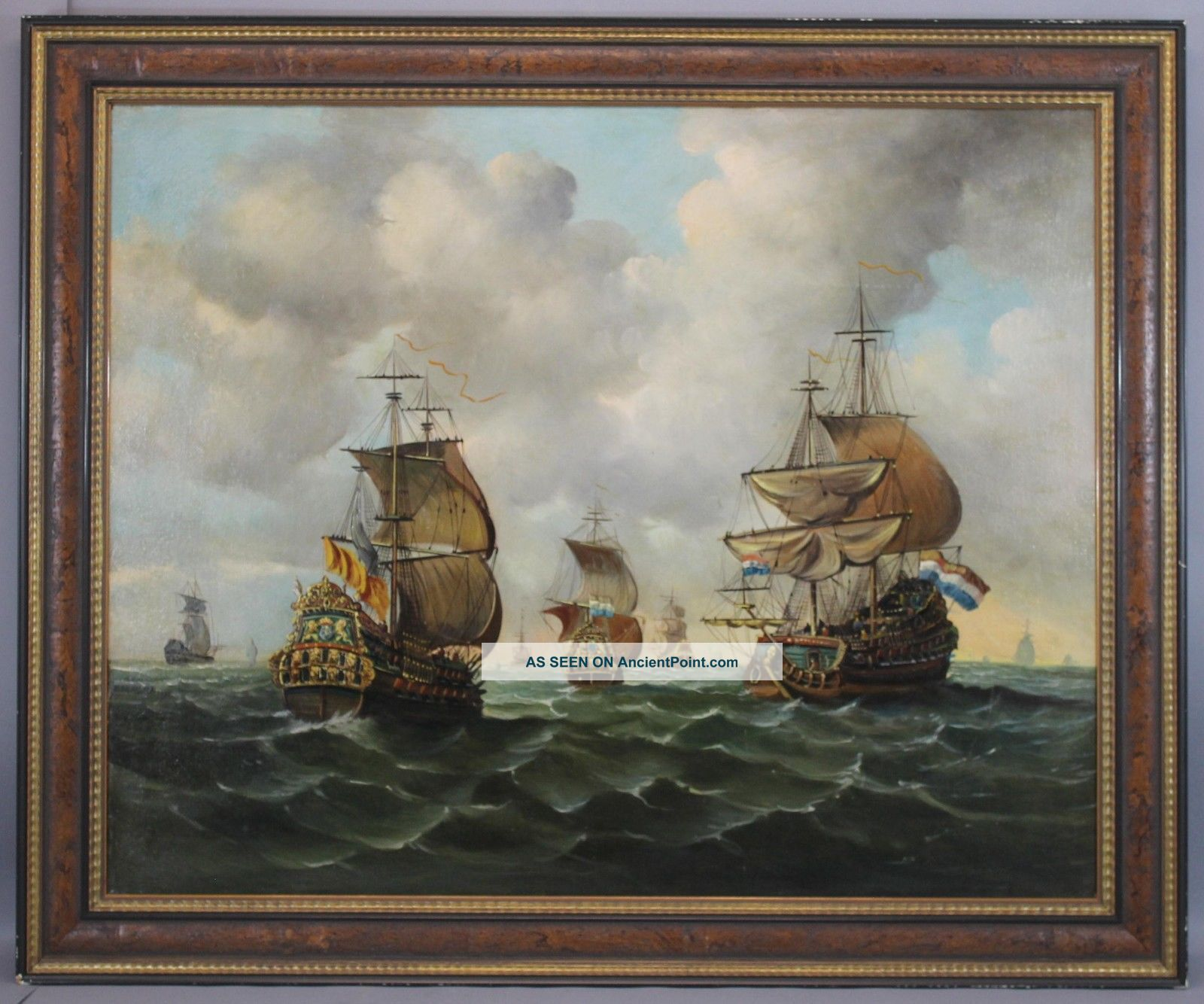 Lrg C1900 Maritime Seascape Oil Painting,  17thc Dutch Galleons Fleet & Flag Ship Other Maritime Antiques photo