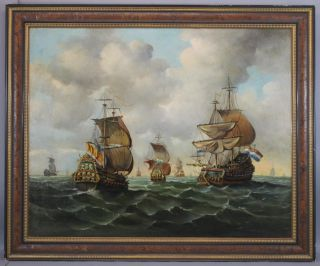 Lrg C1900 Maritime Seascape Oil Painting,  17thc Dutch Galleons Fleet & Flag Ship photo