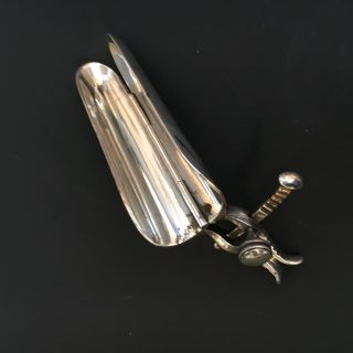 Adjustable Silver Plated Speculum C1870 Medical Instrument photo