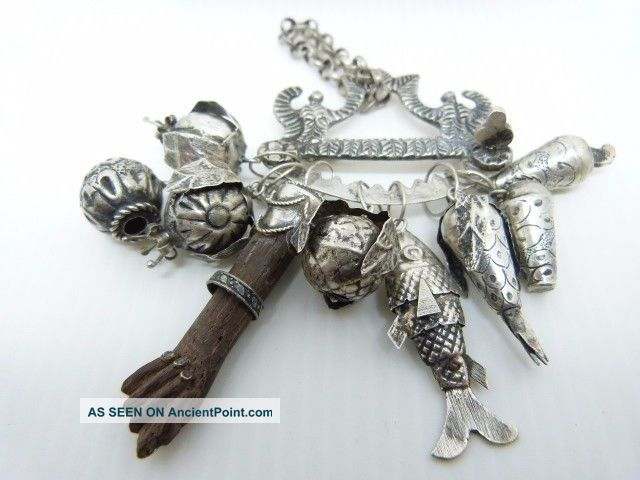Rare And Unique Old Brazil Silver Penca De Balangandan Charm Brooch Latin American photo