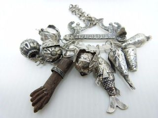 Rare And Unique Old Brazil Silver Penca De Balangandan Charm Brooch photo