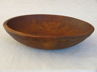 Antique Folk Art Primitive Decorative Small Oval Wooden Bowl 10.  75