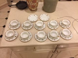 10 Antique Victorian Hand Painted Porcelain Ramekins And 12 Under Plates Au Feu photo