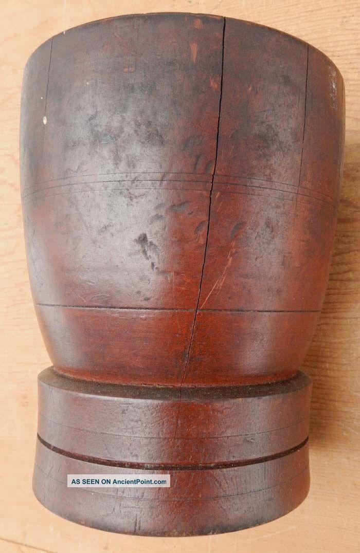 Antique 19th Century Primitive Wood Wooden Mortar & Pestle C B8 Primitives photo