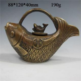 Chinese Bronze Handwork Fish Shape Teapot & Lid W Kangxi Mark A photo