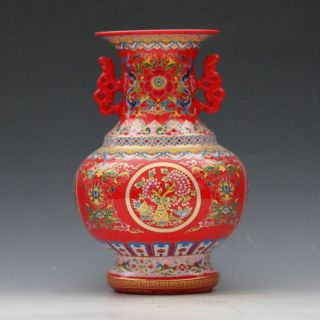 Chinese Jingdezhen Famille Rose Porcelain Hand - Painted Flower Vase Csyb330s photo