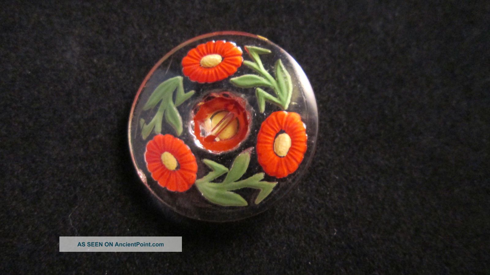 Vintage C.  1930 ' S - 1940 ' S Czech Glass Intaglio Painted Flowers And Leaves Button Buttons photo