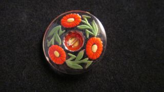 Vintage C.  1930 ' S - 1940 ' S Czech Glass Intaglio Painted Flowers And Leaves Button photo