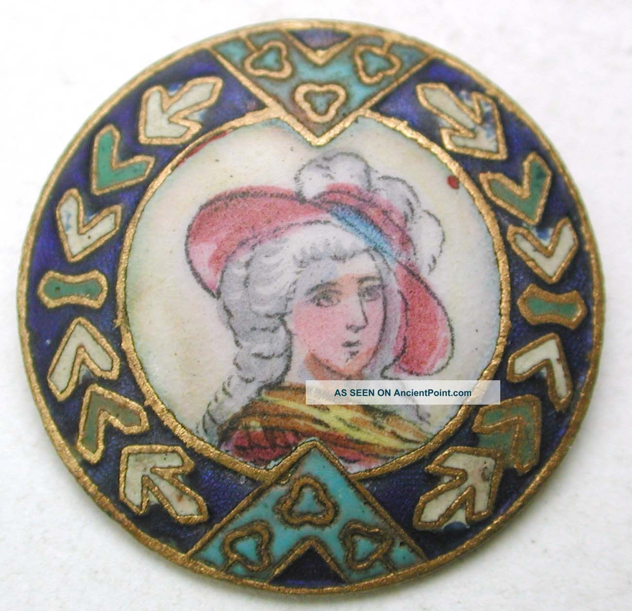Antique French Enamel Button Detailed Hand Paint Woman Design - 7/8