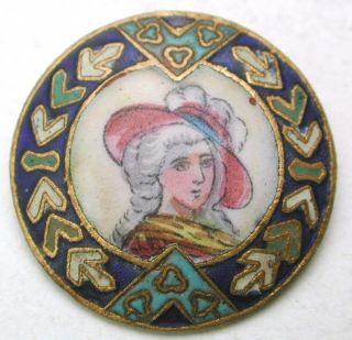 Antique French Enamel Button Detailed Hand Paint Woman Design - 7/8