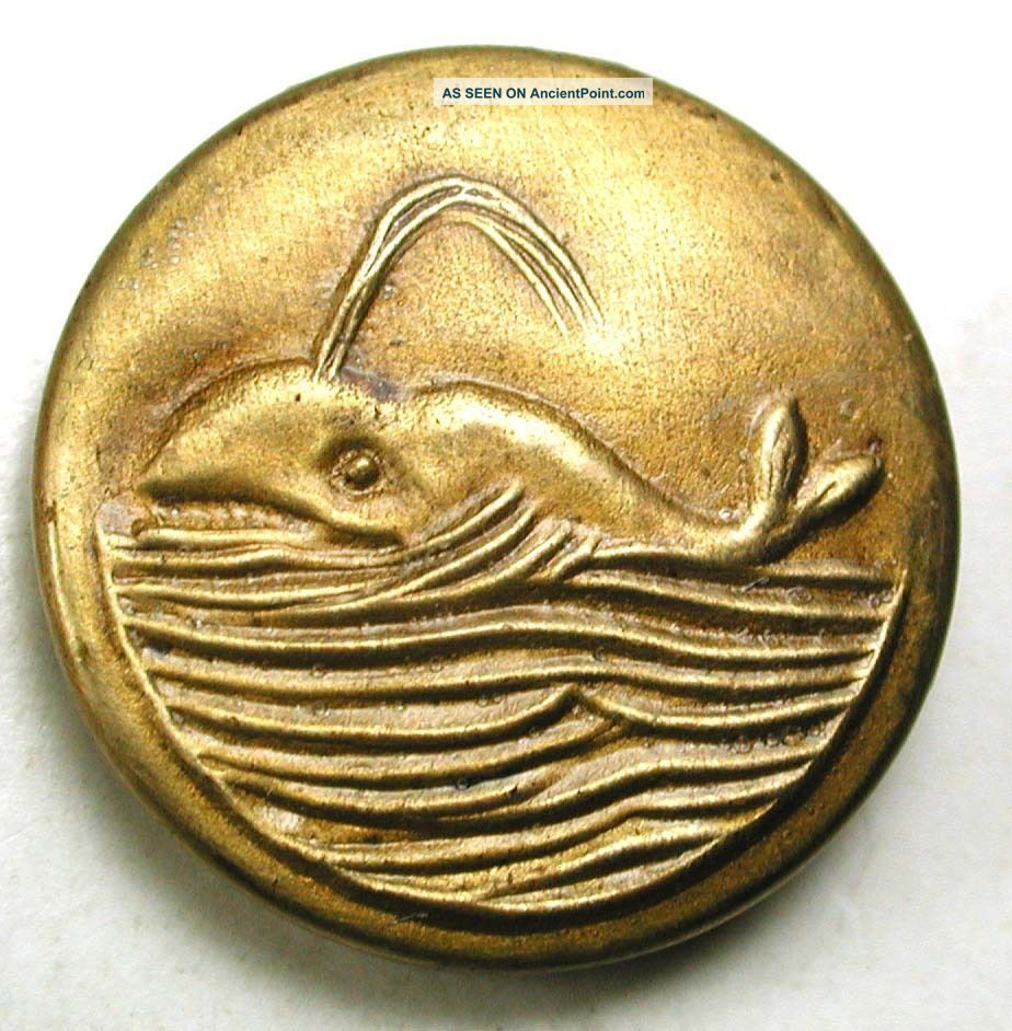Antique Brass Button Sperm Whale W Water Spout 11/16
