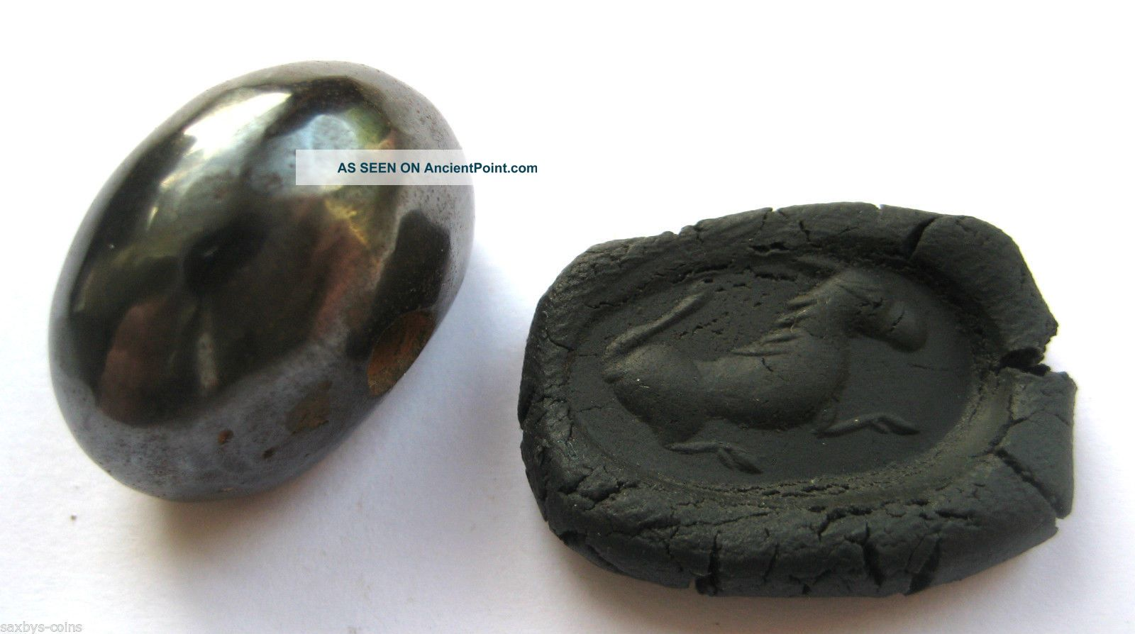 Circa.  400 A.  D Sassanian Empire Zoomorphic Pirite Seal Matrix - Horse Detail Near Eastern photo