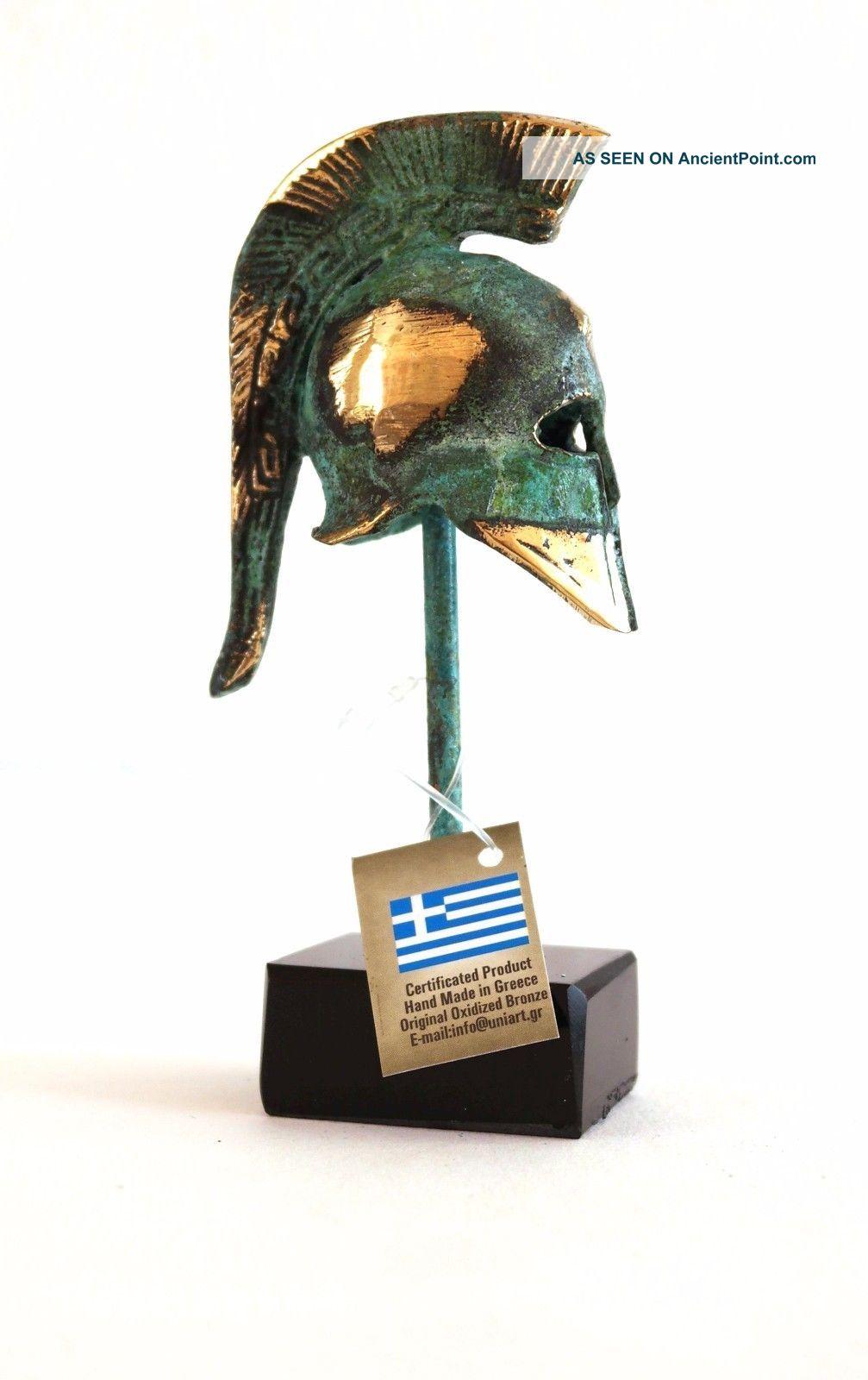 Ancient Greek Bronze Miniature Helmet On Stand Green Gold Oxidization 387 - 1 Greek photo