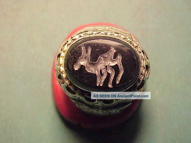 Near Eastern Hand Crafted Intaglio Ring Onyx (deer) Circa 1700 - 1900 Near Eastern photo