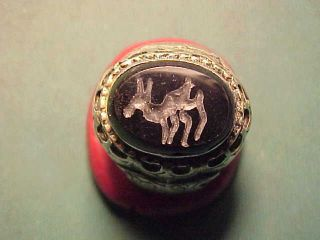 Near Eastern Hand Crafted Intaglio Ring Onyx (deer) Circa 1700 - 1900 photo