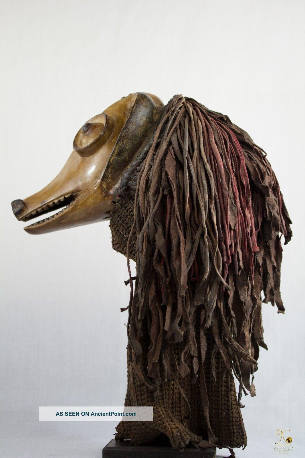 Chokwe Unusual Animal African Mask - Congo Drc Masks photo