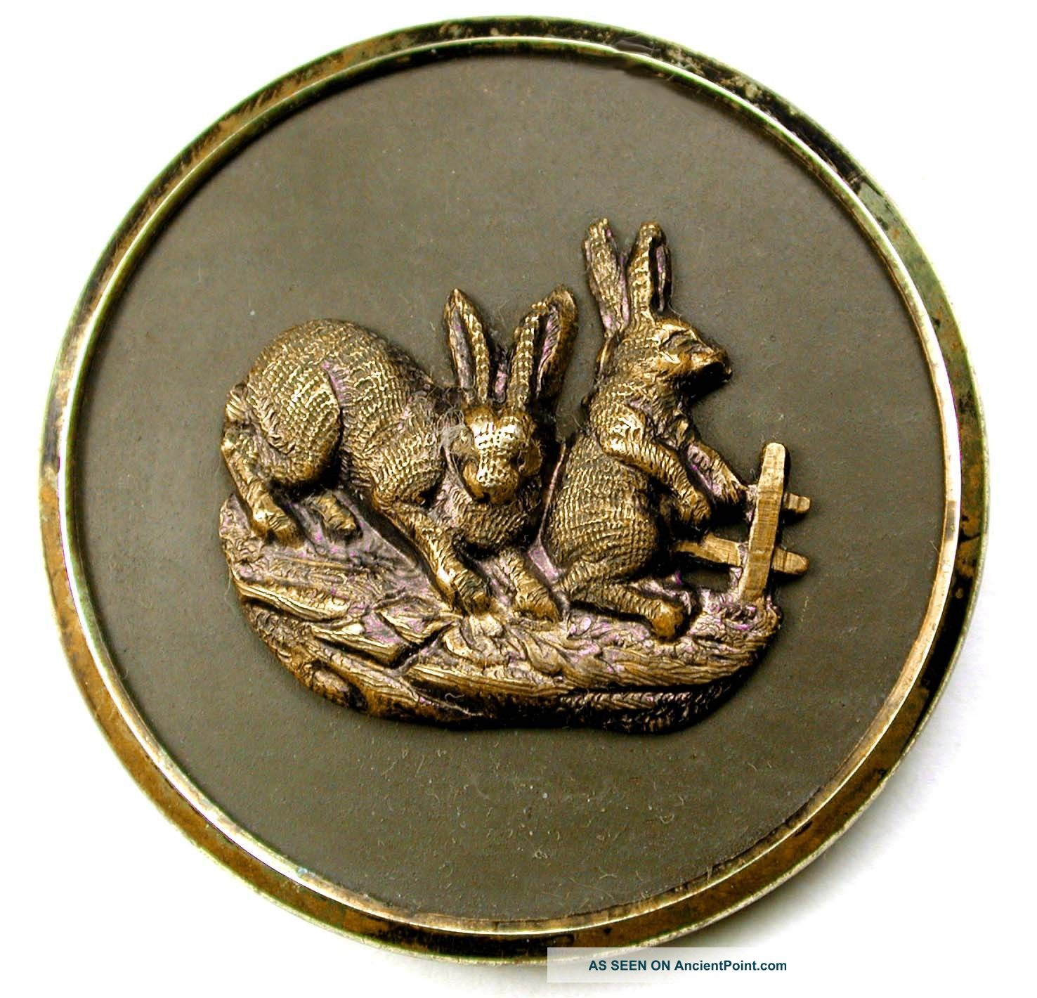 Lg Sz Antique Brass Button Detailed 2 Rabbits By A Fence - 1 & 1/2