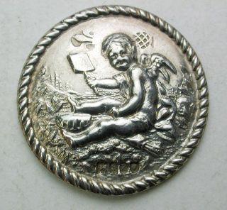 Antique Sterling Silver Button Cherub W/ Shovel Scene - 1
