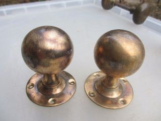 Antique Bronze Door Knob Handles Vintage Architectural Salvage Old Edwardian photo