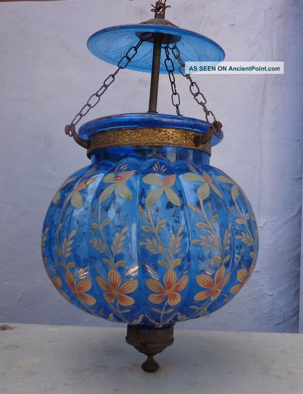 Vintage Blue Enamelled Gilt Work Bell Jar Glass Hall Lantern Chandelier Lamp Chandeliers, Fixtures, Sconces photo