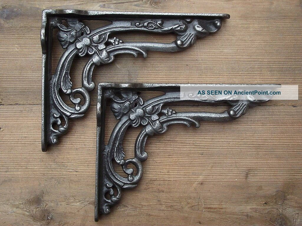 Victorian Style Cast Iron Shelf Brackets Old Vintage Art Nouveau Style Hooks & Brackets photo