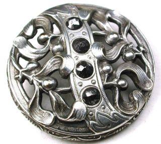 Antique Pierced Silver & Brass Button Detailed Flowers W/ Cut Steels - 1 & 3/8