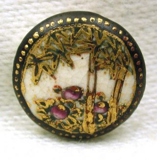 Antique Meiji Satsuma Button Flowers & Bamboo W/ Gold Accents 1/2