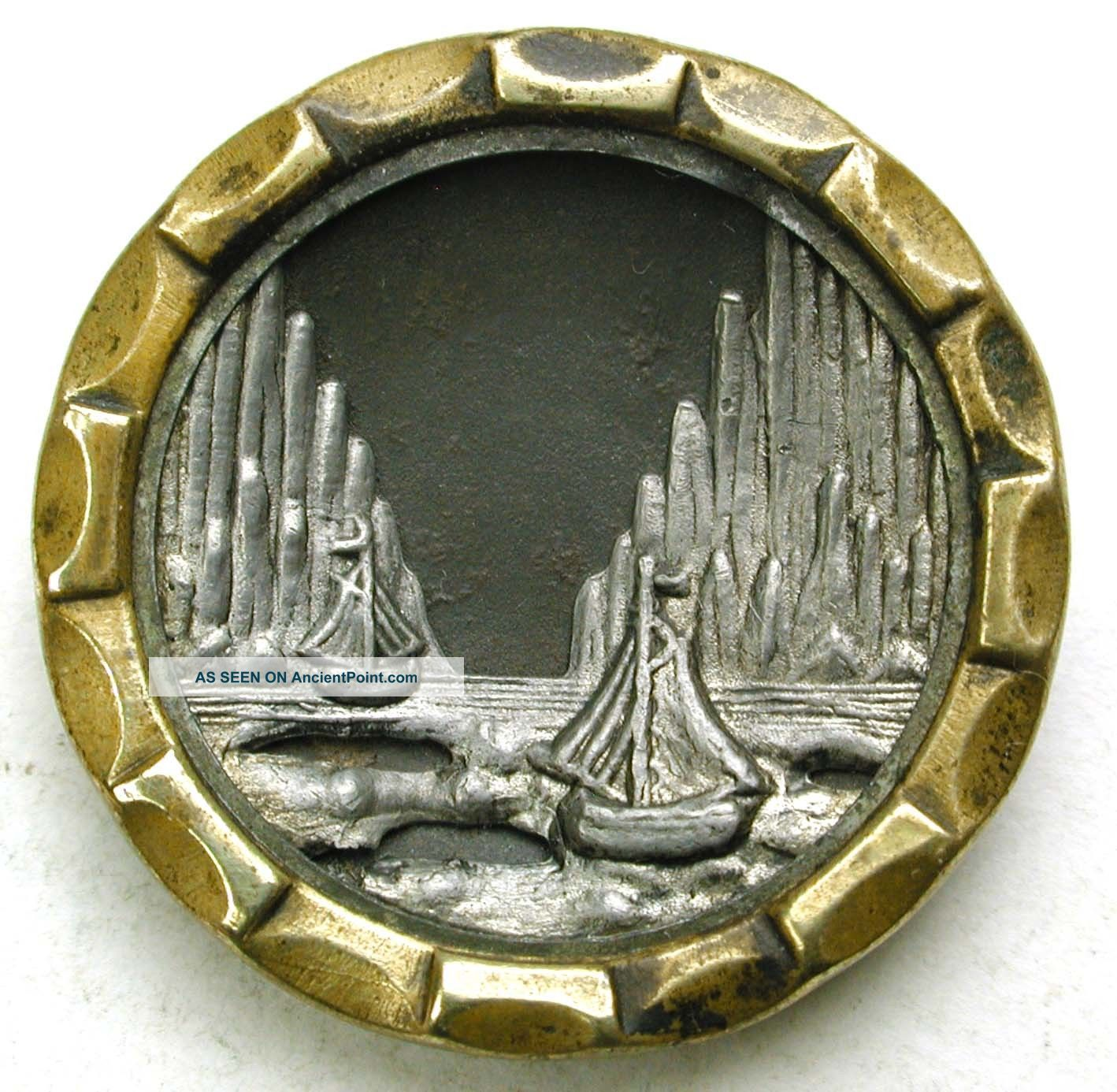 Antique Brass Button Sailing Ships In Icy Fjord Scene - 1 & 1/16