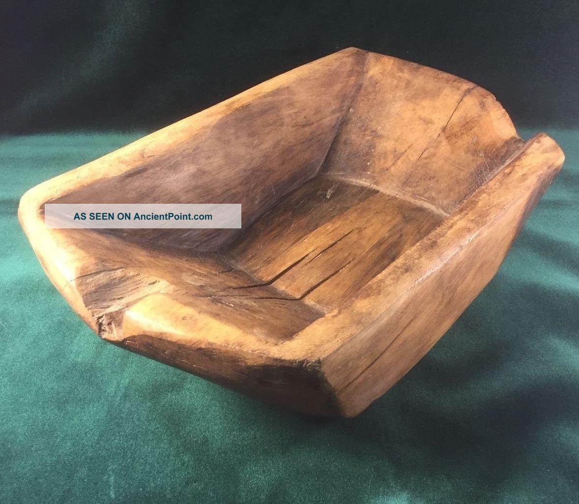 Early Primitive Wood Rectangular Dough Bowl Trencher - One Piece Handmade Primitives photo