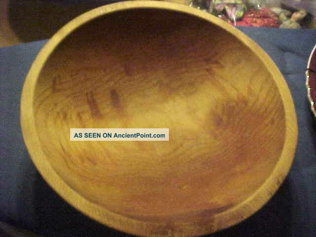Primitive Antique Vtg Large Rural Country Wooden Hand Turned Dough Butter Bowl Primitives photo