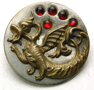 Antique Button Detailed Brass Dragon W/ Red Piereries Accents - 1 & 1/16