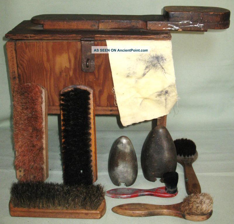 Antique Primitive Lift Top Shoe Shine Wood Stand Box W/contents Brushes Cloth 1900-1950 photo