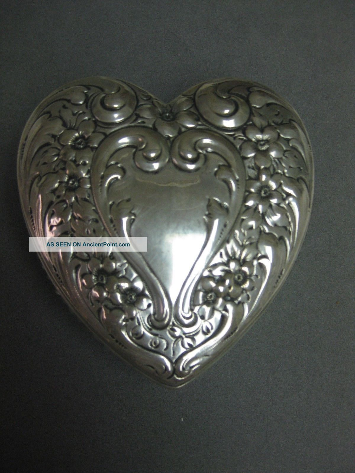 Sterling Silver Heart And Cut Crystal Heart Box Nr Other Antique Sterling Silver photo