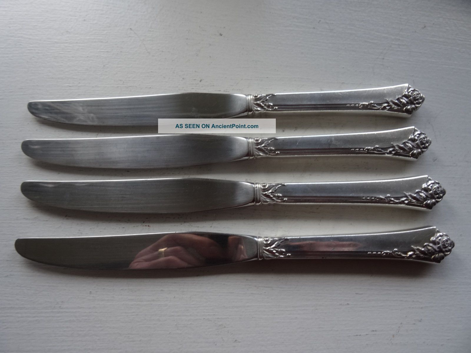 4 Heirloom Damask Rose Sterling Silver Handle Knives No Monogram Flatware & Silverware photo