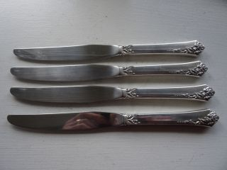 4 Heirloom Damask Rose Sterling Silver Handle Knives No Monogram photo